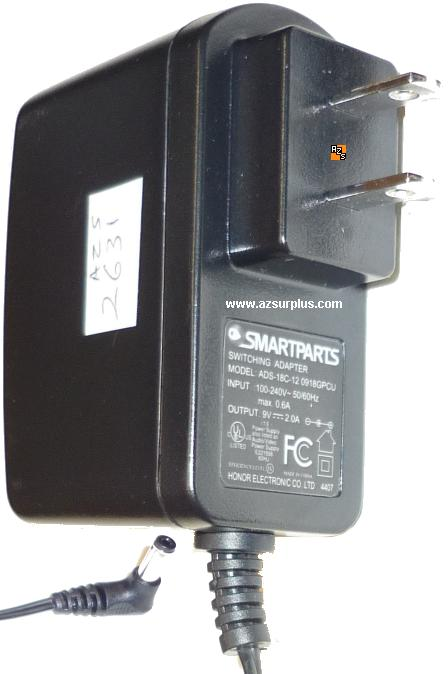 SMARTPARTS ADS-18C-120918GPCU AC ADAPTER 9VDC 2A Switching POWE