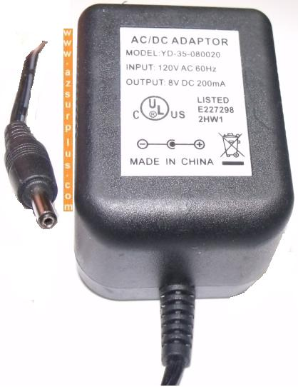 YD-35-080020 AC ADAPTER 8VDC 200mA POWER SUPPLY