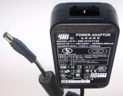YHI 898-1015-F12S AC ADAPTER +12VDC 1250MA USED 2 x 5.5 x 10.5mm