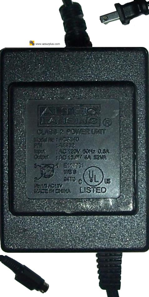 ALTEC LANSING ACS340 AC ADAPTER 13VAC 4A Used 3Pin 10mm Mini Din