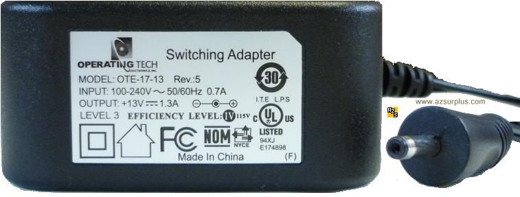 OPERATING TECH OTE-17-13 AC ADAPTER 13VDC 1.3A -(+) 1.3mm Mobile